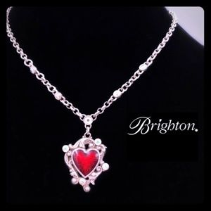 Brighton Red Enamel Heart Necklace w/ AB Crystals